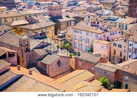Aerial view of ancient building with red roofs in Lucca