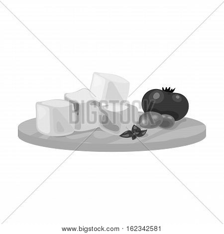 Diced cheese feta with tomatoes and olives on the cutting board icon in monochrome style isolated on white background. Greece symbol vector illustration.