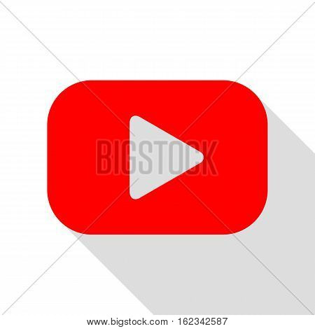 Play Button Sign. Red Icon With Flat Style Shadow Path.