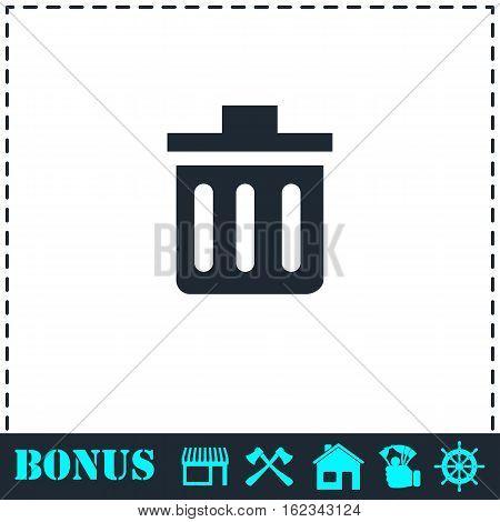 Trash can icon flat. Simple vector symbol and bonus icon