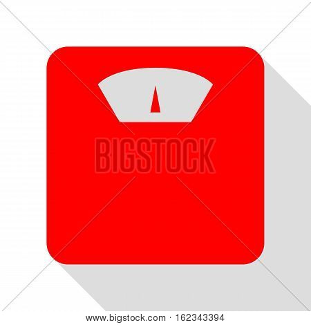 Bathroom Scale Sign. Red Icon With Flat Style Shadow Path.
