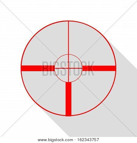 Sight Sign Illustration. Red Icon With Flat Style Shadow Path.