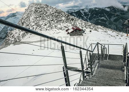 Winter landscape on ski areal Jasna in Slovak Republic