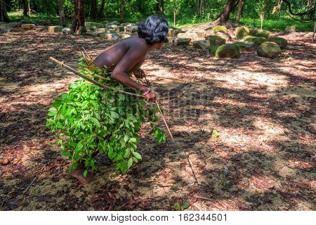 Vedda man holding bow and arrows. Veddas are an indigenous people of Sri Lanka living in tribes in the jungle