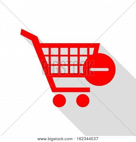 Vector Shopping Cart With Remove Sign. Red Icon With Flat Style