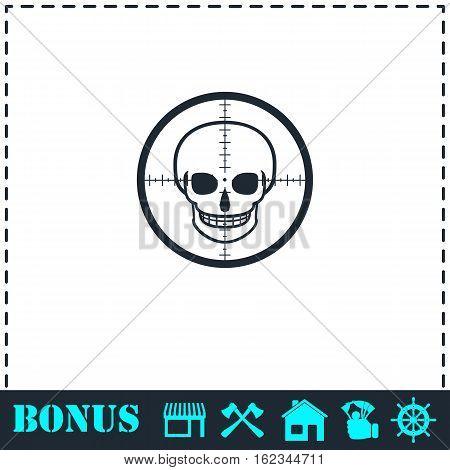 Sniper skull icon flat. Simple vector symbol and bonus icon