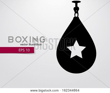 Punching bag silhouette. Background and text on a separate layer, color can be changed in one click. Boxer. Boxing. Punching bag silhouette