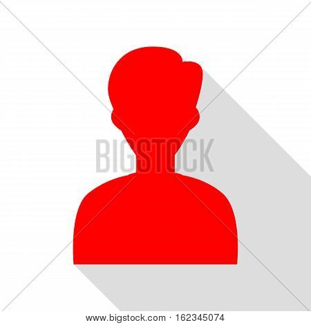 User Avatar Illustration. Anonymous Sign. Red Icon With Flat Sty