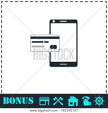 Mobile payment icon flat. Simple vector symbol and bonus icon
