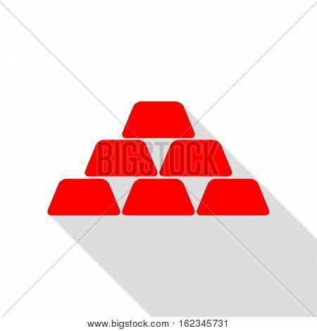 Gold Simple Sign. Red Icon With Flat Style Shadow Path.