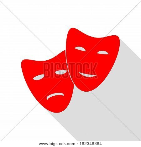 Theater Icon With Happy And Sad Masks. Red Icon With Flat Style