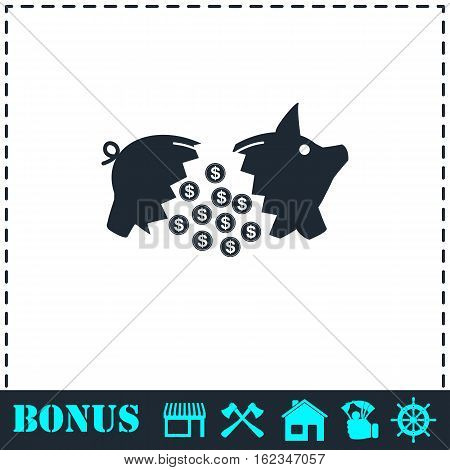 Piggy icon flat. Simple vector symbol and bonus icon