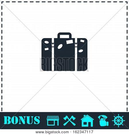 Travel bag icon flat. Simple vector symbol and bonus icon