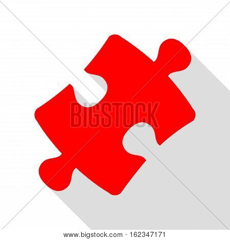 Puzzle Piece Sign. Red Icon With Flat Style Shadow Path.