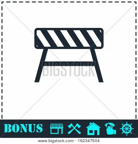 Road barrier icon flat. Simple vector symbol and bonus icon
