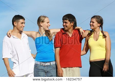 A group of mixed race kids