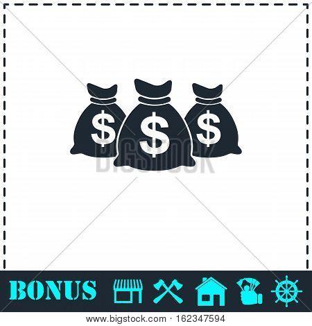 Money bags icon flat. Simple vector symbol and bonus icon