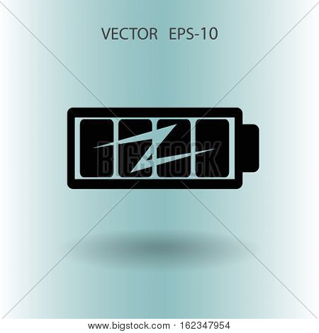 Flat full  battery charged  icon, vector illustration