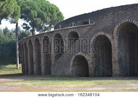arena in Pompeii Italy almost undamaged from Vesuvius
