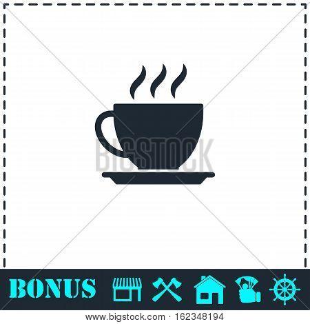 Cofee cup icon flat. Simple vector symbol and bonus icon