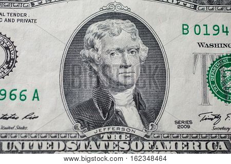 Portrait of the third US President Thomas Jefferson on two-dollar banknote bill background of the money two dollar bills front side obverse. background of dollars close up America