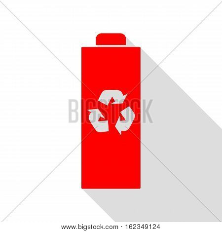 Battery Recycle Sign Illustration. Red Icon With Flat Style Shad