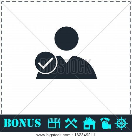 User check icon flat. Simple vector symbol and bonus icon