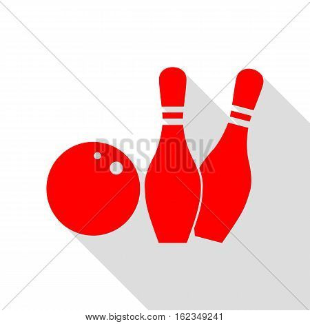 Bowling Sign Illustration. Red Icon With Flat Style Shadow Path.