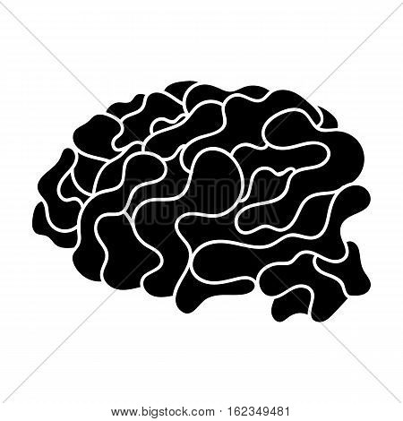 Brain in the virtual reality icon in black style isolated on white background. Virtual reality symbol vector illustration.