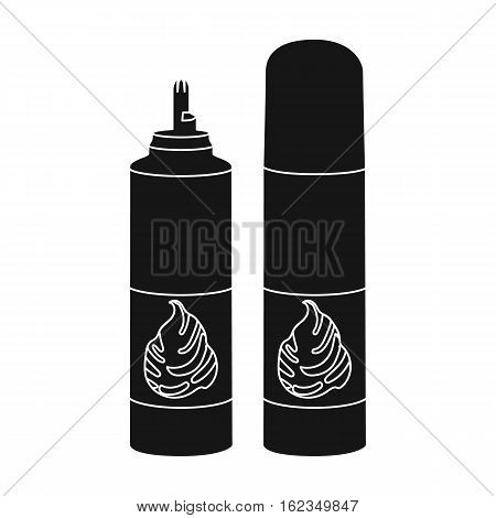 Whipped cream in an aerosol can icon in black style isolated on white background. Milk product and sweet symbol vector illustration.