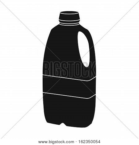 Gallon plastic milk bottle icon in black style isolated on white background. Milk product and sweet symbol vector illustration.