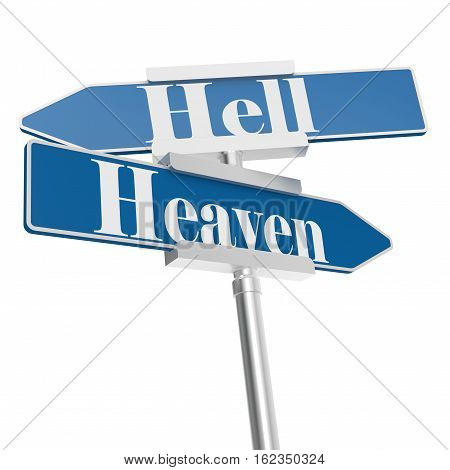 Hell and heaven road signs 3D rendering