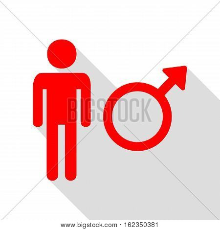 Male Sign Illustration. Red Icon With Flat Style Shadow Path.