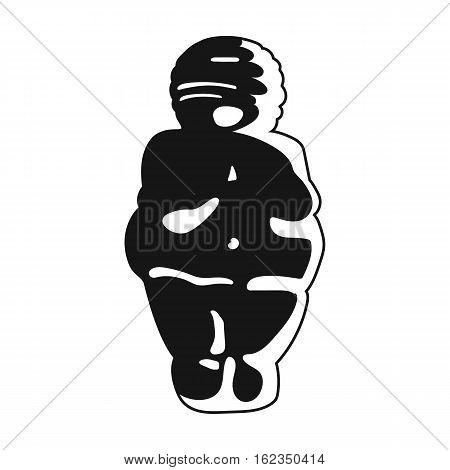 Venus of stone age icon in black style isolated on white background. Stone age symbol vector illustration.