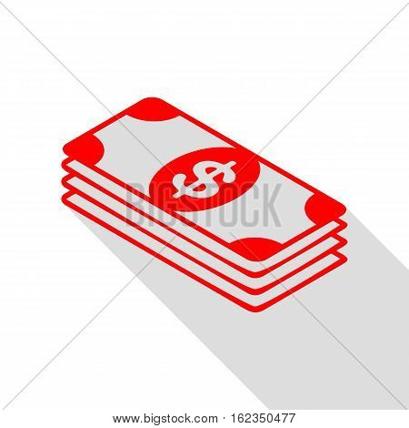 Bank Note Dollar Sign. Red Icon With Flat Style Shadow Path.
