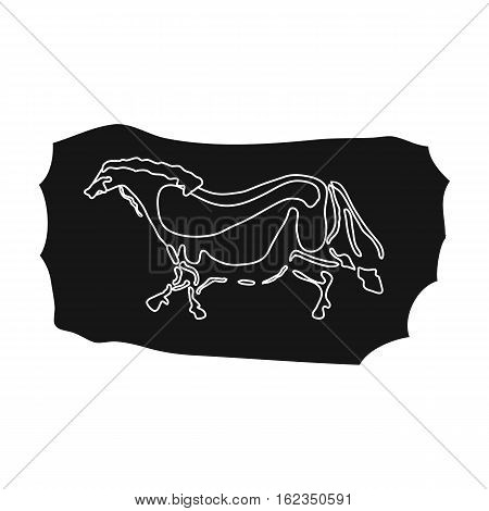 Cave painting icon in black style isolated on white background. Stone age symbol vector illustration.