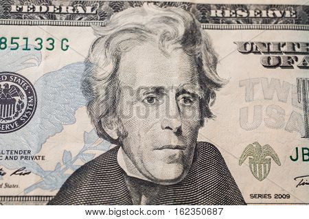 7th President of the United States Andrew Jackson Portrait on twenty dollar bill money background twenty dollar bills front side obverse. background of dollars close up America