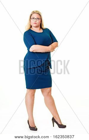 Beautiful Plus Sized Woman In Blue Dress