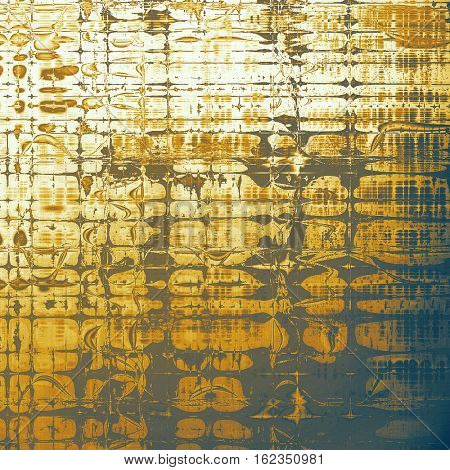 Oldest vintage background in grunge style. Ancient texture with different color patterns: yellow (beige); brown; gray; blue; white