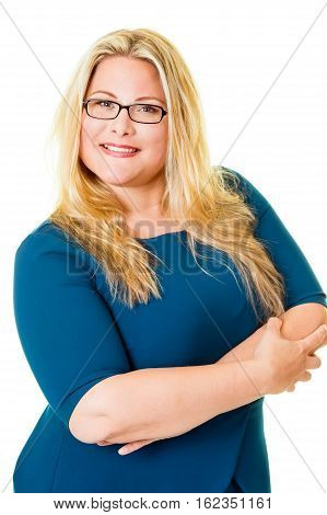Smiling Plus Sized Blond Executive In Blue Dress