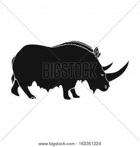 Woolly rhinoceros icon in black style isolated on white background. Stone age symbol vector illustration.