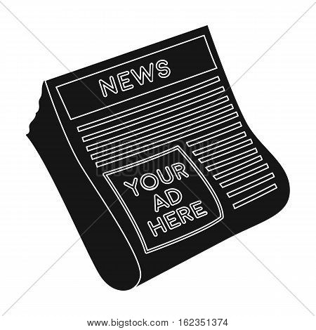 Classified ads in newspaper icon in black style isolated on white background. Advertising symbol vector illustration.
