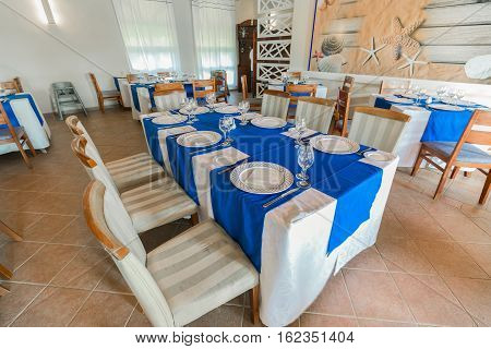 Cayo Coco island, Memories Carib hotel, Cuba, June 30, 2016, amazing beautiful inviting view of Cuban restaurant ready to serve