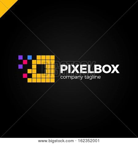 Business Corporate Colorful Letter O Logo Design Vector Logotype For Technology. Pixel Square Or Box