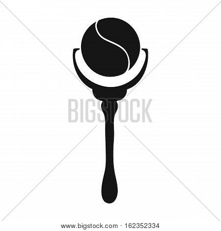 Baby rattle icon in black style isolated on white background. Baby born symbol vector illustration.