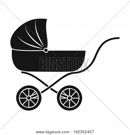 Pram icon in black style isolated on white background. Baby born symbol vector illustration.