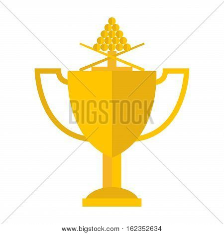 Winning billiards concept of victory vector illustration. Gold cup achievement award best first prize. Championship cue golden reward design billiard trophy.