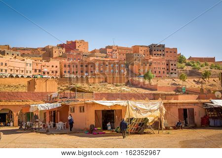 Boumalne Dades Morocco - October 31 2016: Here are happening large markets in Boumalne Dades