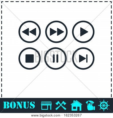 Video Audio Player buttons icon flat. Simple vector symbol and bonus icon