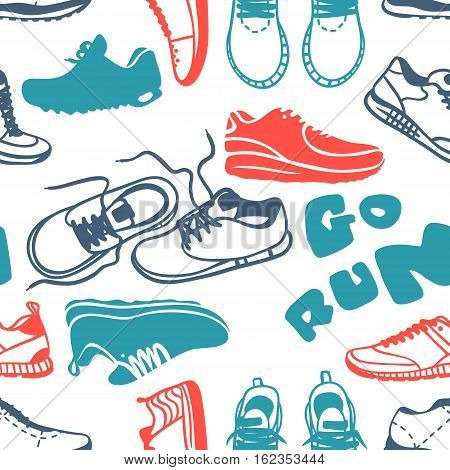Running seamless pattern. Cartoon sneakers seamless texture and sport run trendy footwear. Vector illustration fitness exercise shoe athletic textile object and go training motivation.